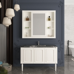 经典款简欧卫浴柜1000mm仿古白浴室柜+浴室镜套装