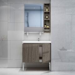 现代简约平板款卫浴柜1000mm灰橡浴室柜+浴室镜套装
